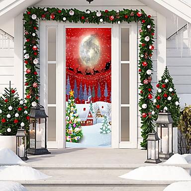 karácsonyi 3d ajtó matrica matrica karácsonyfa ajtó háttérkép kivehető vinilmatricák beltéri kültéri karácsonyi party ünnepi ajtó dekorációhoz