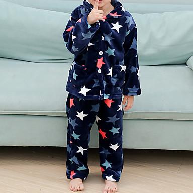 preiswerte Unterwäsche & Socken für Jungen Babys-2pcs Baby Jungen Geometrisch / Druck Schnalle / Print / Grundlegend Schlafanzüge Gelb