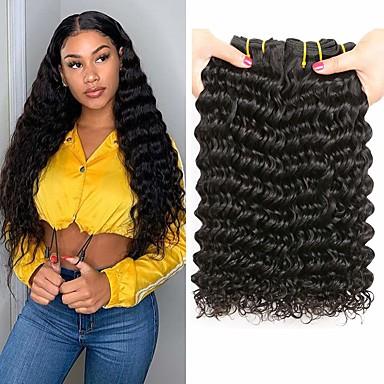 povoljno Ekstenzije od ljudske kose-3 paketa Brazilska kosa Duboko Val Virgin kosa Ljudske kose plete 8-28 inch Isprepliće ljudske kose Proširenja ljudske kose / 10A