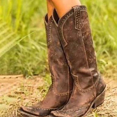 cheap Women's Boots-Women's Boots Comfort Shoes Flat Heel Round Toe PU Mid-Calf Boots Fall & Winter Black / Brown / Yellow