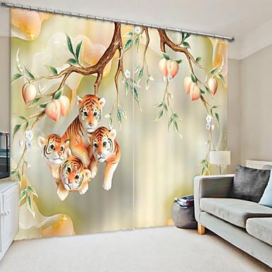 kerámia stílusú őszibarack fa és tigris digitális nyomtatás 3d függöny árnyékoló függöny nagy pontosságú fekete selyem anyagból kiváló minőségű függöny