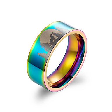 voordelige Dames Sieraden-Heren Dames Bandring Ring 1pc Zilver Blauw Regenboog Titanium Staal Stijlvol Standaard Casual / Sporty Lahja Dagelijks Sieraden