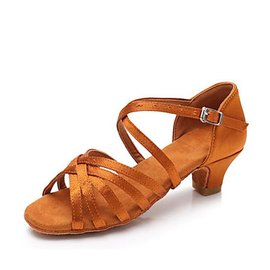 preiswerte Tanzschuhe-Mädchen Tanzschuhe Satin Schuhe für den lateinamerikanischen Tanz Absätze Kubanischer Absatz Maßfertigung Schwarz / Braun / Kamel