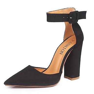 cheap Women's Heels-Women's Heels Chunky Heel Pointed Toe Suede Spring & Summer Black / Red