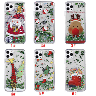 povoljno iPhone maske-Θήκη Za Apple iPhone 11 / iPhone 11 Pro / iPhone 11 Pro Max S tekućinom / Uzorak / Šljokice Stražnja maska Božić TPU