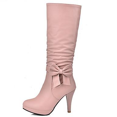 cheap Women's Boots-Women's Boots Stiletto Heel Round Toe PU Mid-Calf Boots Fall & Winter Black / White / Blue
