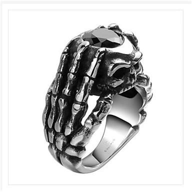 levne Pánské šperky-Pánské Prsten Kubický zirkon 1ks Stříbrná Titanová ocel Geometric Shape Módní Párty Denní Šperky Geometrické Lebka Cool