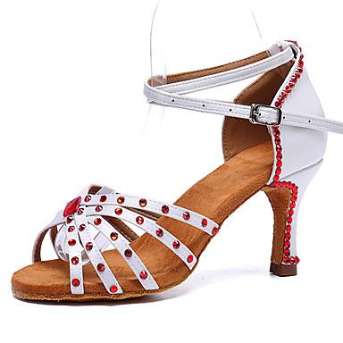 preiswerte Tanzschuhe-Damen Tanzschuhe Satin Schuhe für den lateinamerikanischen Tanz Glitter / Schnalle / Kristall Verzierung Absätze Starke Ferse Weiß