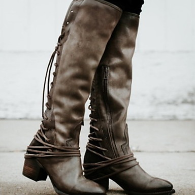 preiswerte Schuhe und Taschen-Damen Stiefel Kniehohe Stiefel Blockabsatz Runde Zehe PU Kniehohe Stiefel Winter Schwarz / Braun / Grau