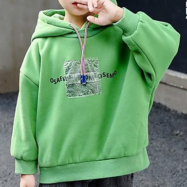preiswerte Kapuzenpullover & Sweatshirts für Jungen-Kinder Jungen Street Schick Druck Langarm Kapuzenpullover Gelb