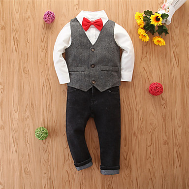 povoljno Odjeća za dječake-Djeca Dječaci Osnovni Kauzalni Print Dugih rukava Regularna Normalne dužine Komplet odjeće Sive boje