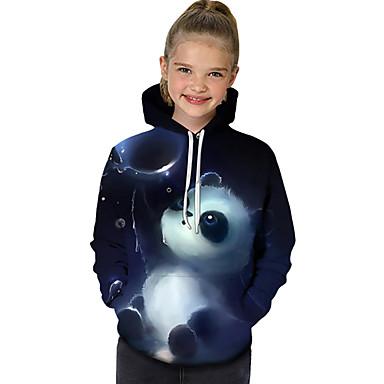 preiswerte Kapuzenpullover & Sweatshirts für Mädchen-Kinder Baby Mädchen Aktiv Grundlegend Panda Geometrisch Druck Einfarbig Druck Langarm Kapuzenpullover Blau / Tier