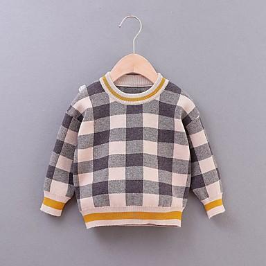 povoljno Odjeća za dječake-Djeca Dječaci Osnovni Karirani uzorak Dugih rukava Džemper i kardigan Red