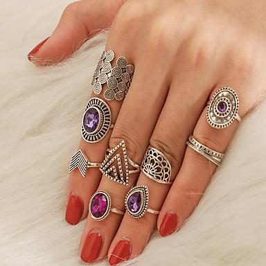levne Dámské šperky-Dámské Prsten Sada kroužků 9ks Stříbrná Slitina nepravidelný Klasické Moderní Módní Dar Denní Šperky Vystřižený Hruška Arrow