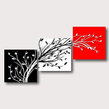 preiswerte überdimensional Farbe-Hang-Ölgemälde Handgemalte - Abstrakt Blumenmuster / Botanisch Zeitgenössisch Modern Fügen Innenrahmen / Drei Paneele