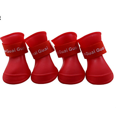 cheap Dog Clothes-Dogs Dog Boots / Dog Shoes Rain Boots Waterproof Solid Color Cute For Pets Silicone Rubber PVC Black