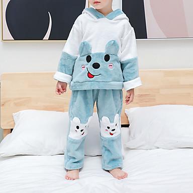 povoljno Odjeća za bebe-2kom Dijete Djevojčice Kolaž Životinjski uzorak / Kolaž / Osnovni Sleepwear Svijetlo zelena