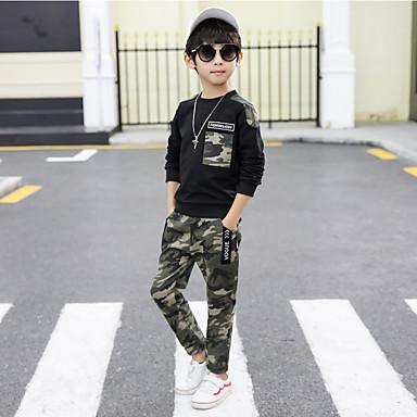 povoljno Odjeća za dječake-Djeca Dječaci Aktivan Kolaž Dugih rukava Regularna Normalne dužine Komplet odjeće Crn