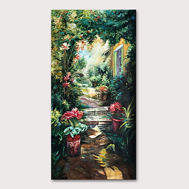 cheap Wall Art-Oil Painting Hand Painted - Famous Landscape Classic Traditional Rolled Canvas