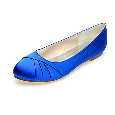 cheap Wedding Shoes-Women's Wedding Shoes Flat Heel Round Toe Satin Minimalism Fall / Spring & Summer Black / White / Purple / Party & Evening