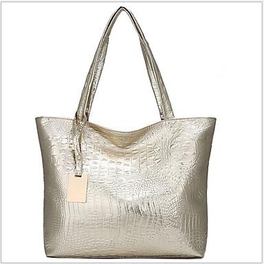 cheap Bags-Women's Zipper Cowhide Tote Black / Gold / Silver