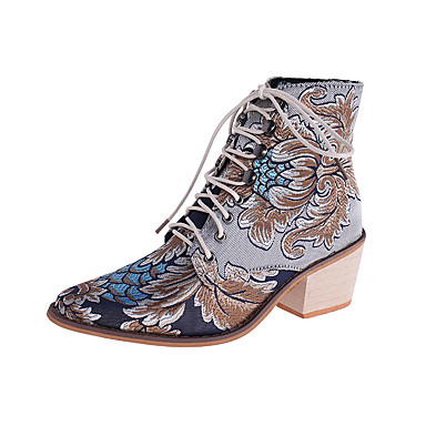 cheap Women's Boots-Women's Boots Fall & Winter Chunky Heel Pointed Toe Casual Daily Animal Print Satin Booties / Ankle Boots Walking Shoes Dark Red / Blue