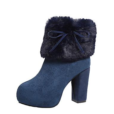 voordelige Dameslaarzen-Dames Laarzen Blokhak Ronde Teen Imitatiebont / PU Lente / Herfst winter Zwart / Marine Blauw / Khaki / Feesten & Uitgaan