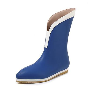 cheap Women's Boots-Women's Boots Rain Boots Flat Heel Pointed Toe Microfiber Spring & Summer Blue / Party & Evening