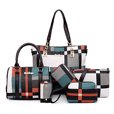 preiswerte Schuhe und Taschen-Damen / Mädchen Knöpfe / Reißverschluss PU Bag Set Geometrische Muster 6 Stück Geldbörse Set Schwarz / Blau / Rote
