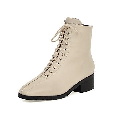 voordelige Dameslaarzen-Dames Laarzen Blokhak Vierkante Teen PU Korte laarsjes / Enkellaarsjes Informeel / minimalisme Herfst winter Zwart / Amandel