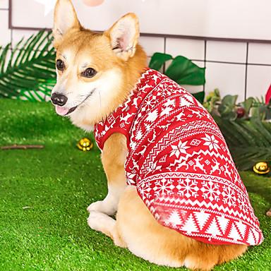 Kutyák Pulóverek Tél Kutyaruházat Melegen tartani Piros Karácsony Jelmez Polyster Fonalfestett Szerepjáték M L XL XXL XXXL XXXXL