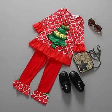 povoljno Odjeća za bebe-Dijete Djevojčice Ulični šik Print / Božić Dugih rukava Regularna Pamuk Komplet odjeće Red / Dijete koje je tek prohodalo