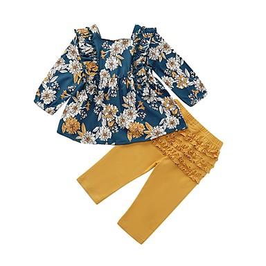 povoljno Odjeća za bebe-Dijete Djevojčice Ulični šik Cvjetni print Dugih rukava Regularna Komplet odjeće Navy Plava