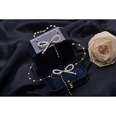 levne Dámské šperky-Dámské Bílá Sladkovodní perla Korálkový náramek Strands Náhrdelník Třásně Gypsophila Motýlek Střapec Stříbrná Náušnice Šperky Bílá Pro Párty Denní 2pcs