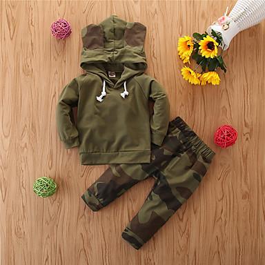 cheap Baby & Toddler Boy-Baby Boys' Casual Print Print Long Sleeve Regular Regular Clothing Set Green
