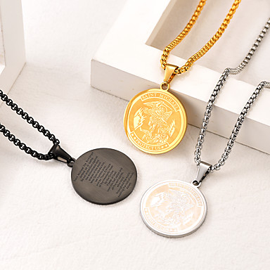cheap Pendant Necklaces-Men's Women's Pendant Necklace Necklace Classic Classic Fashion Titanium Steel Black Gold Silver 55 cm Necklace Jewelry 1pc For Gift Daily Festival / Charm Necklace