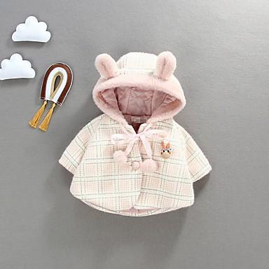 povoljno Odjeća za bebe-Dijete Djevojčice Ulični šik Karirani uzorak Pernata i pamučna podstava Blushing Pink