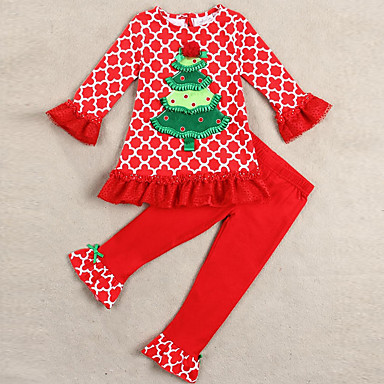 cheap Clearance-Baby Girls' Street chic Print Christmas Long Sleeve Regular Clothing Set Red / Toddler