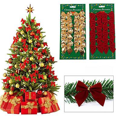 36db karácsonyfa dísz bowknot party otthoni esküvői dekoráció