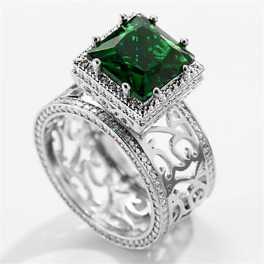 levne Pánské šperky-Pánské Prsten Syntetický smaragd 1ks Stříbrná Mosaz Geometric Shape Módní Denní Dovolená Šperky Kytky Cool