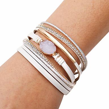 levne Dámské šperky-Dámské Kožené náramky Pletený Pletený Módní Cikánský Lidová Style PU Náramek šperky Bílá Pro Dar Denní Práce