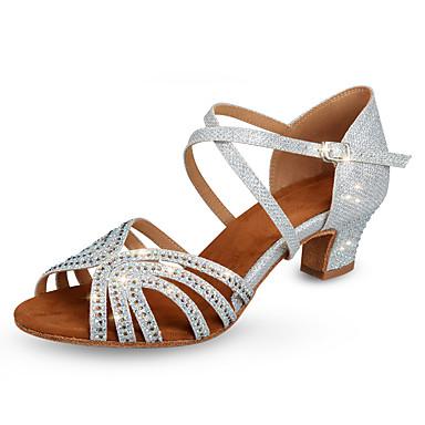 preiswerte Tanzschuhe-Damen Tanzschuhe Kunststoff Schuhe für den lateinamerikanischen Tanz Glitter / Kristall Verzierung / Glitzer Absätze Starke Ferse Maßfertigung Silber / Praxis