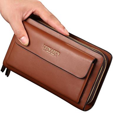 cheap New Arrivals Discount-Men's Zipper PU Clutch Solid Color Black / Brown
