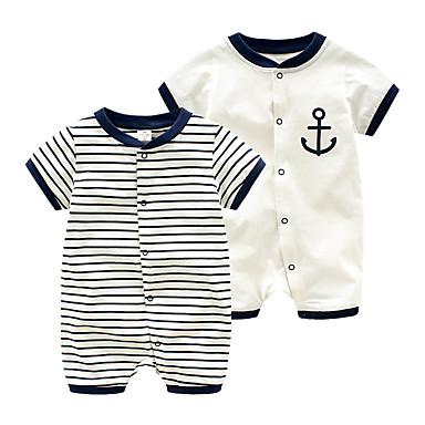 cheap Baby & Toddler Boy-Baby Unisex Basic Daily Striped Printing Short Sleeves Romper White