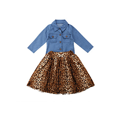 povoljno Odjeća za bebe-Dijete Djevojčice Ležerne prilike Leopard / Jednobojni Drapirano Dugih rukava Duga Komplet odjeće Plava