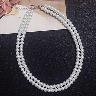 povoljno Modne ogrlice-Žene Bijela slojeviti Ogrlice Biseri Obala 40 cm Ogrlice Jewelry Za Dnevno