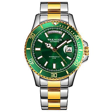 levne Pánské-Pánské mechanické hodinky Automatické natahování Formální styl Stylové Nerez Stříbro / Zlatá 50 m Kalendář Svítící Datum dne Analogové Luxus Módní - zlatá + černá Zlato / stříbro / černá Zelená