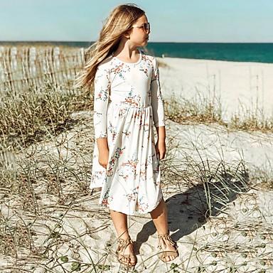 저렴한 최고 판매-아동 여아 플로럴 드레스 화이트