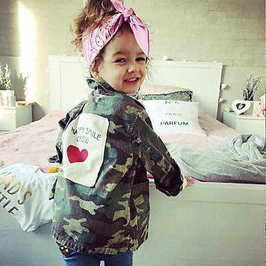 povoljno Odjeća za bebe-Dijete Djevojčice Osnovni Print Dugih rukava Bluza Vojska Green