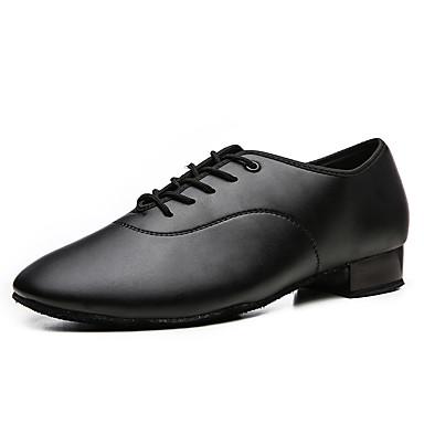 cheap Men's Dance Shoes-Men's Dance Shoes PU Modern Shoes Heel Flat Heel Black